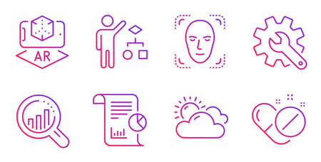 Seo analysis, Sunny weather and Algorithm line icons set. Face detection, Augmented reality and Customisation signs. Report, Medical pills symbols. Targeting chart, Summer. Science set. Vector Çizim