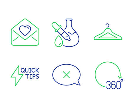 Chemistry experiment, Reject and Love letter line icons set. Quickstart guide, Cloakroom and 360 degrees signs. Laboratory flask, Delete message, Heart. Lightning symbol. Business set. Vector  イラスト・ベクター素材