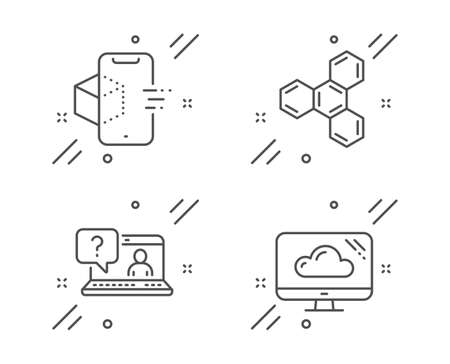 Augmented reality, Faq and Chemical formula line icons set. Cloud storage sign. Phone simulation, Web support, Chemistry. Computer. Science set. Line augmented reality outline icon. Vector Çizim
