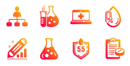 Ph neutral, Medical help and Chemistry flask line icons set. Chemistry lab, No alcohol and Edit statistics signs. Management, Medical prescription symbols. Water, Medicine laptop. Vector