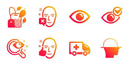 Eye, Ambulance emergency and Healthy face line icons set. Check eye, Vision test and Face declined signs. Mint bag symbol. View or vision, Medical transport. Medical set. Vector