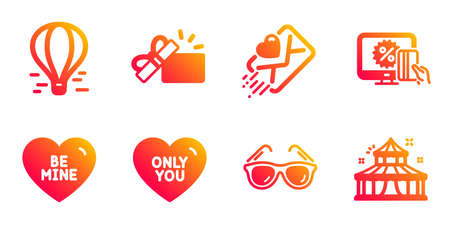 Be mine, Opened gift and Love letter line icons set. Air balloon, Online shopping and Sunglasses signs. Only you, Circus symbols. Love sweetheart, Present box. Holidays set. Vector