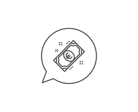 Euro money line icon. Chat bubble design. Payment method sign. Eur symbol. Outline concept. Thin line euro money icon. Vector