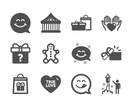 Set of Holidays icons, such as Secret gift, Holidays shopping, Carousels, Smile face, Gifts, Opened gift, Yummy smile, Fireworks, Hold heart, True love, Gingerbread man classic icons. Vector