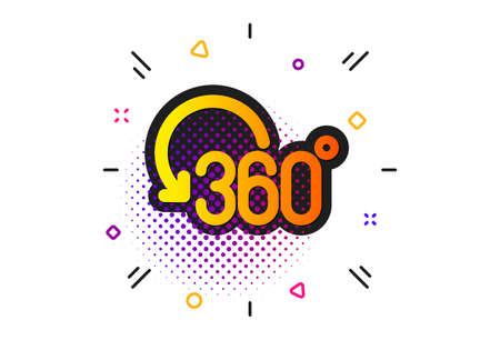 Full rotation sign. Halftone circles pattern. 360 degree icon. VR technology simulation symbol. Classic flat full rotation icon. Vector 向量圖像