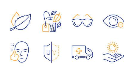 Uv protection, Ambulance emergency and Healthy face line icons set. Mint bag, Eyeglasses and Mint leaves signs. Myopia, Sun protection symbols. Ultraviolet, Medical transport. Medical set. Vector