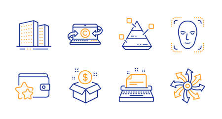 Pyramid chart, Face detection and Buildings line icons set. Typewriter, Post package and Copywriting notebook signs. Loyalty program, Versatile symbols. Report analysis, Detect person. Vector
