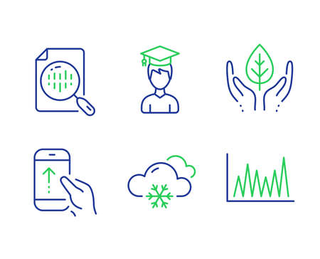 Snow weather, Student and Swipe up line icons set. Analytics chart, Fair trade and Line graph signs. Snowflake, Graduation cap, Scrolling screen. Report analysis. Science set. Vector Illusztráció