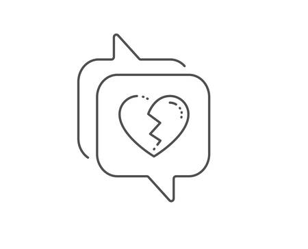 Broken heart line icon. Chat bubble design. Love crush sign. Divorce symbol. Outline concept. Thin line broken heart icon. Vector