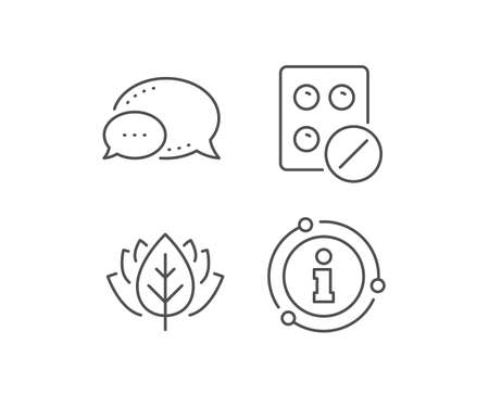 Medical tablet line icon. Chat bubble, info sign elements. Medicine drugs sign. Pharmacy medication symbol. Linear medical tablet outline icon. Information bubble. Vector Ilustracje wektorowe