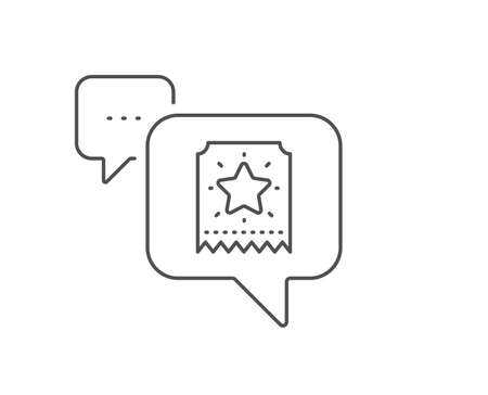 Loyalty star ticket line icon. Chat bubble design. Bonus points. Discount program symbol. Outline concept. Thin line loyalty ticket icon. Vector