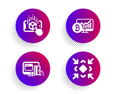 Bitcoin chart, Augmented reality and Online payment icons simple set. Halftone dots button. Minimize sign. Cryptocurrency statistics, Phone simulation, Money. Small screen. Technology set. Vector Çizim