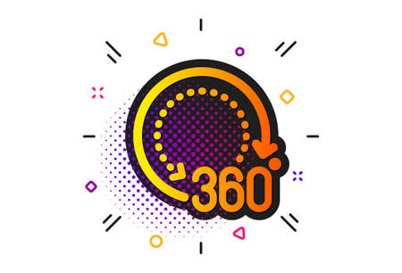 Panoramic view sign. Halftone circles pattern. 360 degrees icon. VR technology simulation symbol. Classic flat 360 degrees icon. Vector