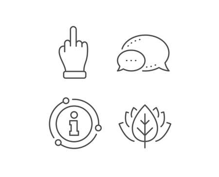 Middle finger hand line icon. Chat bubble, info sign elements. Palm gesture symbol. Linear middle finger outline icon. Information bubble. Vector