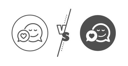 Chat emotion with heart sign. Versus concept. Comic speech bubble with Smile line icon. Line vs classic dating icon. Vector Ilustração
