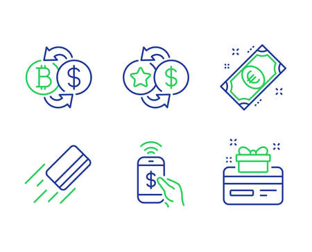 Credit card, Phone payment and Loyalty points line icons set. Euro money, Bitcoin exchange and Loyalty card signs. Bank payment, Mobile pay, Change dollar. Cash. Finance set. Vector