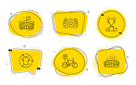 Laureate, Winner podium and Arena stadium signs. Chat bubbles. Bicycle parking, Arena and Change clothes line icons set. Bike park, Sport stadium, Shirt. Award shield. Sports set. Vector Standard-Bild - 133180099