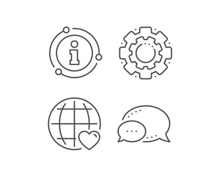 International Love line icon. Chat bubble, info sign elements. Heart with Globe symbol. Valentines day sign. Linear international Love outline icon. Information bubble. Vector