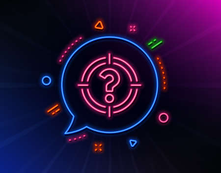 Target with Question mark line icon. Neon laser lights. Aim symbol. Help or FAQ sign. Glow laser speech bubble. Neon lights chat bubble. Banner badge with headhunter icon. Vector Ilustração