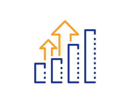 Results chart sign. Analysis graph line icon. Traffic management symbol. Colorful outline concept. Blue and orange thin line analysis graph icon. Vector