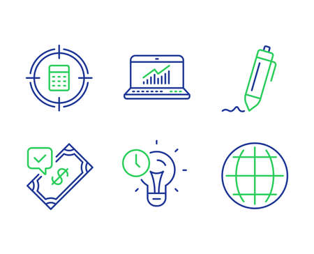 Online statistics, Signature and Accepted payment line icons set. Time management, Calculator target and Globe signs. Computer data, Written pen, Bank transfer. Idea lightbulb. Education set. Vector