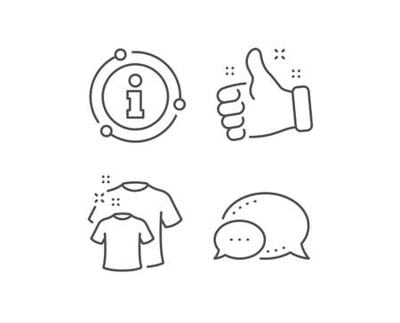 Clean t-shirt line icon. Chat bubble, info sign elements. Laundry shirt sign. Clothing cleaner symbol. Linear clean t-shirt outline icon. Information bubble. Vector