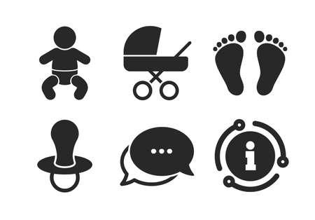 Ragazzo del bambino con il simbolo dei pannolini. Chat, segno di informazioni. Icone dei neonati del bambino. Segni buggy e fittizi. Ciuccio bambino e passeggino. Segno di passo dell'impronta del bambino. Icona del fumetto di stile classico. Vettore Vettoriali