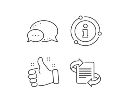 Marketing line icon. Chat bubble, info sign elements. Page with arrows sign. Article symbol. Linear marketing outline icon. Information bubble. Vector