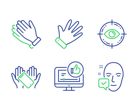 Like video, Smartphone holding and Hand line icons set. Eye target, Clapping hands and Face accepted signs. Thumbs up, Phone, Waving palm. Optometry. People set. Line like video outline icons. Vector Ilustrace