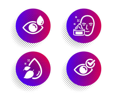 Face cream, Water drop and Eye drops icons simple set. Halftone dots button. Check eye sign. Gel, Serum oil, Check vision. Vision. Medical set. Classic flat face cream icon. Vector