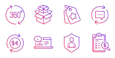 Security, Packing boxes and Money currency line icons set. Loyalty tags, 360 degrees and Update comments signs. Online documentation, Accounting report symbols. Gradient security icon. Vector