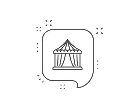 Amusement park tent line icon. Chat bubble design. Circus tickets office sign. Outline concept. Thin line circus tent icon. Vector