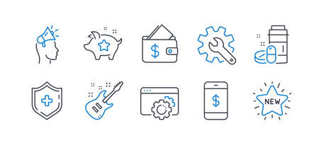 Set of Business icons, such as Medical drugs, Brand ambassador, Electric guitar, Loyalty points, Customisation, Seo gear, Wallet, Smartphone payment, Medical shield, New star line icons. Vector