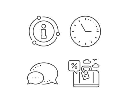 Travel loan percent line icon. Chat bubble, info sign elements. Trip discount sign. Credit percentage symbol. Linear travel loan outline icon. Information bubble. Vector
