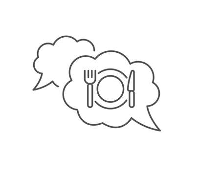 Restaurant food line icon. Chat bubble design. Dinner sign. Hotel service symbol. Outline concept. Thin line restaurant food icon. Vector