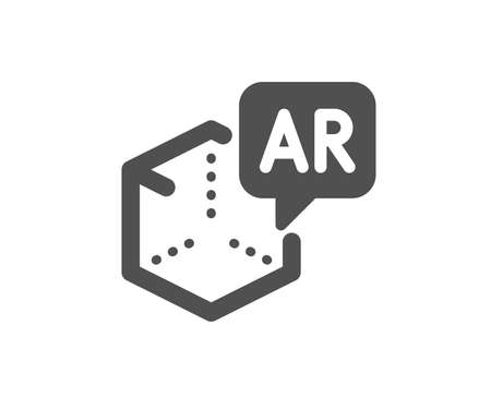 VR simulation sign. Augmented reality icon. 3d cube symbol. Classic flat style. Simple augmented reality icon. Vector