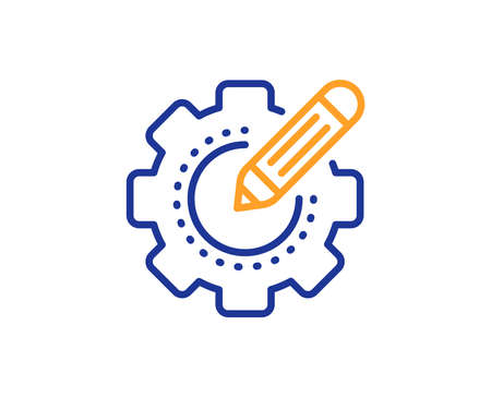 Cogwheel  with star sign. Settings gear line icon. Edit working process symbol. Colorful outline concept. Blue and orange thin line settings gear icon. Vector