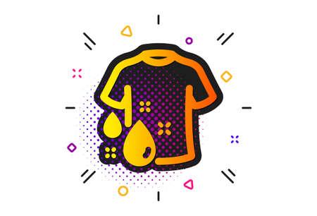 Laundry shirt sign. Halftone circles pattern. Wash t-shirt icon. Clothing cleaner symbol. Classic flat wash t-shirt icon. Vector