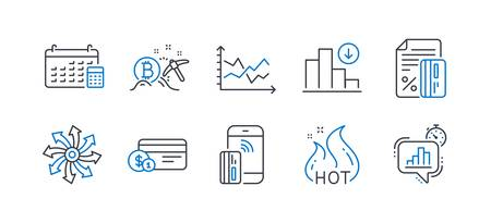 Set of Finance icons, such as Contactless payment, Credit card, Diagram chart, Versatile, Hot sale, Bitcoin mining, Payment method, Calendar, Decreasing graph, Statistics timer line icons. Vector