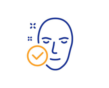 Face care sign. Health skin line icon. Cosmetic lotion symbol. Colorful outline concept. Blue and orange thin line health skin icon. Vector 일러스트