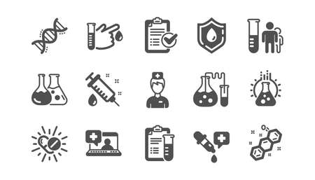 Medical healthcare, doctor icons. Drug testing, scientific discovery and disease prevention icons. Chemical formula, chemistry testing lab. Classic set. Quality set. Vector Vettoriali