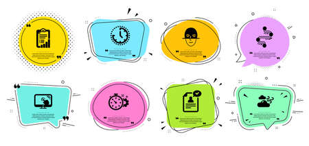 Touch screen, Timeline and Face recognition line icons set. Chat bubbles with quotes. Windy weather, Cogwheel timer and Resume document signs. Time, Checklist symbols. Vector Illusztráció