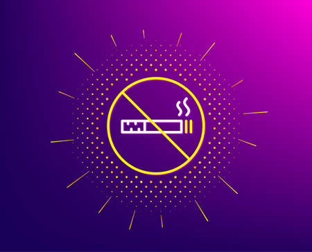 No smoking line icon. Halftone pattern. Stop smoke sign. Hotel service symbol. Gradient background. No smoking line icon. Yellow halftone pattern. Vector Illustration