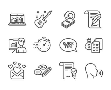 Set of Education icons, such as Electric guitar, Approved agreement, Feather, Quickstart guide, Timer, Accounting wealth, Cashback, Web analytics, Human sing, Presentation, Keywords. Vector