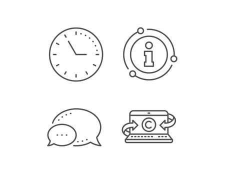 Copywriting notebook line icon. Chat bubble, info sign elements. Ð¡opyright sign. Media content symbol. Linear copywriting notebook outline icon. Information bubble. Vector