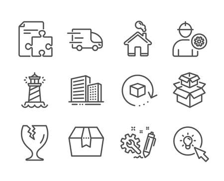 Set of Industrial icons, such as Return package, Buildings, Package box, Home, Lighthouse, Energy, Truck delivery, Strategy, Packing boxes, Engineering, Engineer line icons. Vector