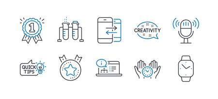 Set of Education icons, such as Safe time, Reward, Education idea, Online documentation, Chemistry beaker, Microphone, Ranking star, Creativity, Phone communication, Smartwatch line icons. Vector