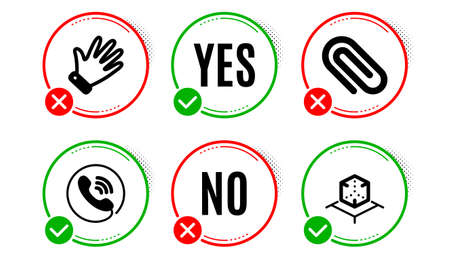 Paper clip, Hand and Call center icons simple set. Yes no check box. Augmented reality sign. Attach paperclip, Waving palm, Phone support. Virtual reality. Business set. Paper clip icon. Vector