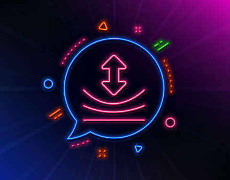 Resilience line icon. Neon laser lights. Elastic material sign. Glow laser speech bubble. Neon lights chat bubble. Banner badge with resilience icon. Vector