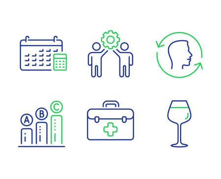 Face id, Employees teamwork and Graph chart line icons set. First aid, Calendar and Bordeaux glass signs. Identification system, Collaboration, Growth report. Medicine kit. Vector